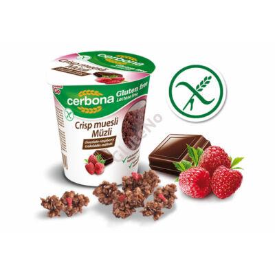 Gluténmentes Csokoládés-málnás ropogós müzli pohárban (Cerbona) - 50 g