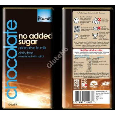 "Plamil No Added Sugar - alternative to milk - xylites ""tej""csokoládé (gluténmentes, tejmentes) - 100 g"