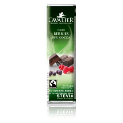 Cavalier Étcsokoládé bogyós gyümölcsökkel (Stevia édesítőszerrel) 40g